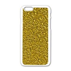 Sparkling Glitter Golden Apple iPhone 6 White Enamel Case