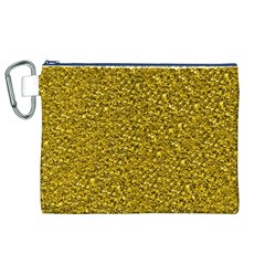 Sparkling Glitter Golden Canvas Cosmetic Bag (XL)