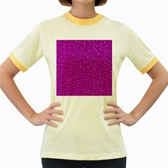 Sparkling Glitter Hot Pink Women s Fitted Ringer T-Shirts