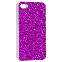 Sparkling Glitter Hot Pink Apple iPhone 4/4s Seamless Case (White)