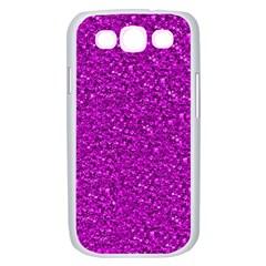 Sparkling Glitter Hot Pink Samsung Galaxy S III Case (White)