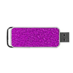 Sparkling Glitter Hot Pink Portable Usb Flash (one Side)
