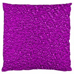 Sparkling Glitter Hot Pink Large Flano Cushion Cases (one Side)