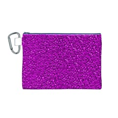 Sparkling Glitter Hot Pink Canvas Cosmetic Bag (M)