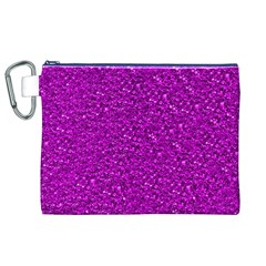 Sparkling Glitter Hot Pink Canvas Cosmetic Bag (xl)