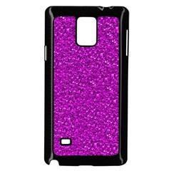 Sparkling Glitter Hot Pink Samsung Galaxy Note 4 Case (Black)