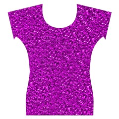 Sparkling Glitter Hot Pink Women s Cap Sleeve Top