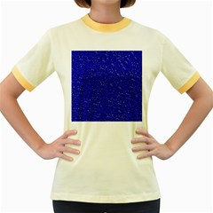Sparkling Glitter Inky Blue Women s Fitted Ringer T Shirts