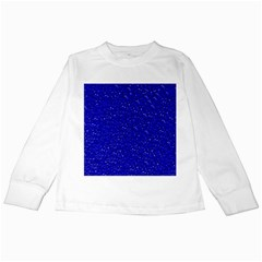 Sparkling Glitter Inky Blue Kids Long Sleeve T Shirts