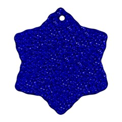 Sparkling Glitter Inky Blue Snowflake Ornament (2-Side)