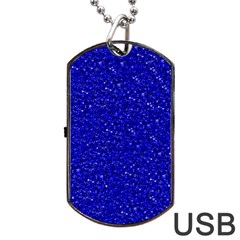 Sparkling Glitter Inky Blue Dog Tag USB Flash (One Side)