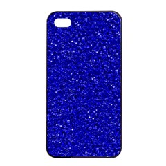 Sparkling Glitter Inky Blue Apple Iphone 4/4s Seamless Case (black)