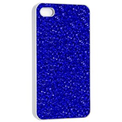 Sparkling Glitter Inky Blue Apple iPhone 4/4s Seamless Case (White)