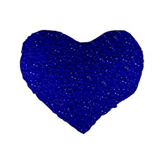 Sparkling Glitter Inky Blue Standard 16  Premium Flano Heart Shape Cushions