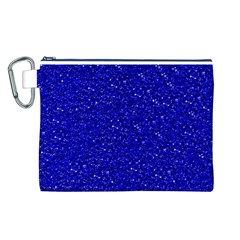 Sparkling Glitter Inky Blue Canvas Cosmetic Bag (L)