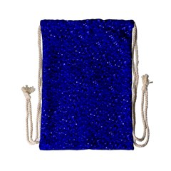 Sparkling Glitter Inky Blue Drawstring Bag (Small)