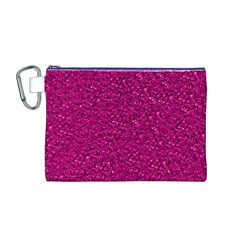 Sparkling Glitter Pink Canvas Cosmetic Bag (M)