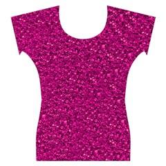 Sparkling Glitter Pink Women s Cap Sleeve Top