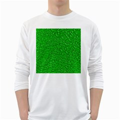 Sparkling Glitter Neon Green White Long Sleeve T-Shirts