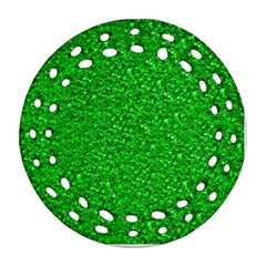 Sparkling Glitter Neon Green Round Filigree Ornament (2Side)