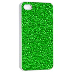 Sparkling Glitter Neon Green Apple iPhone 4/4s Seamless Case (White)