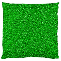 Sparkling Glitter Neon Green Standard Flano Cushion Cases (two Sides)