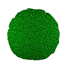Sparkling Glitter Neon Green Standard 15  Premium Flano Round Cushions