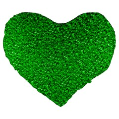 Sparkling Glitter Neon Green Large 19  Premium Flano Heart Shape Cushions