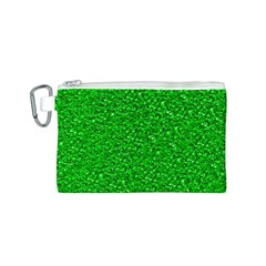 Sparkling Glitter Neon Green Canvas Cosmetic Bag (S)