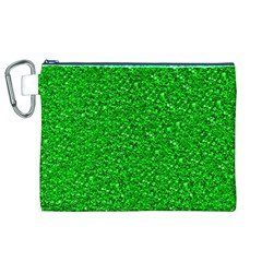 Sparkling Glitter Neon Green Canvas Cosmetic Bag (XL)