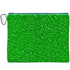 Sparkling Glitter Neon Green Canvas Cosmetic Bag (XXXL)