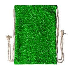 Sparkling Glitter Neon Green Drawstring Bag (large)