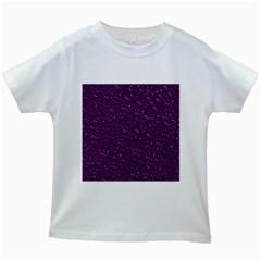 Sparkling Glitter Plum Kids White T Shirts