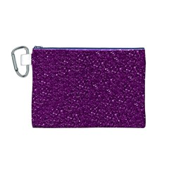 Sparkling Glitter Plum Canvas Cosmetic Bag (M)