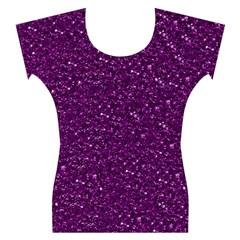 Sparkling Glitter Plum Women s Cap Sleeve Top