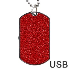 Sparkling Glitter Red Dog Tag USB Flash (One Side)