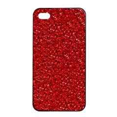 Sparkling Glitter Red Apple iPhone 4/4s Seamless Case (Black)