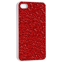 Sparkling Glitter Red Apple iPhone 4/4s Seamless Case (White)