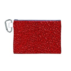 Sparkling Glitter Red Canvas Cosmetic Bag (M)