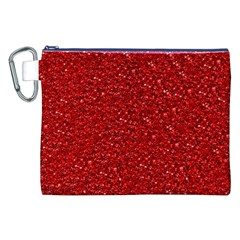 Sparkling Glitter Red Canvas Cosmetic Bag (XXL)