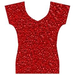 Sparkling Glitter Red Women s V-Neck Cap Sleeve Top