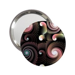 Peach Swirls On Black 2 25  Handbag Mirrors