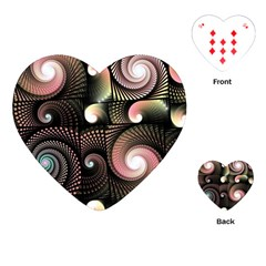 Peach Swirls On Black Playing Cards (heart)