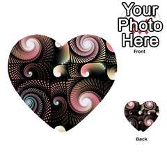 Peach Swirls On Black Multi Purpose Cards (heart)