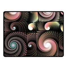 Peach Swirls on Black Fleece Blanket (Small)