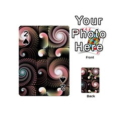 Peach Swirls On Black Playing Cards 54 (mini)