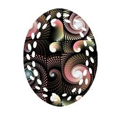Peach Swirls on Black Ornament (Oval Filigree)