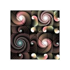 Peach Swirls on Black Acrylic Tangram Puzzle (4  x 4 )