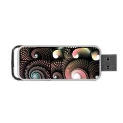 Peach Swirls On Black Portable Usb Flash (one Side)