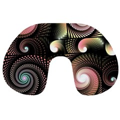Peach Swirls On Black Travel Neck Pillows